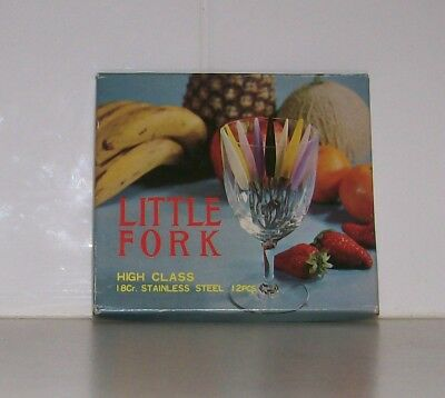 Retro vintage Little Fork one dozen set - Kitch 1970's cocktail forks - Japan