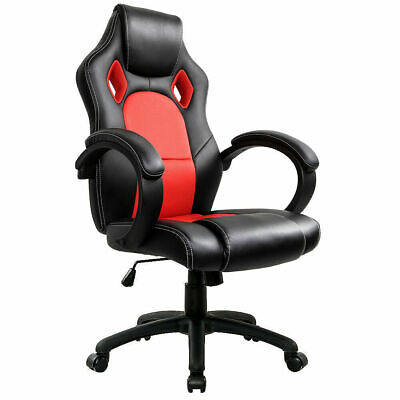 Executive Office Chair Sports Racing Gaming Swivel PU Leather Computer Desk Grey
