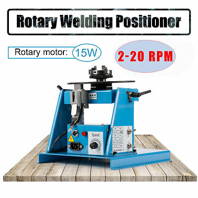 110V Rotary Welding Positioner Turntable Table 3 Jaw Lathe Chuck 2-20RPM