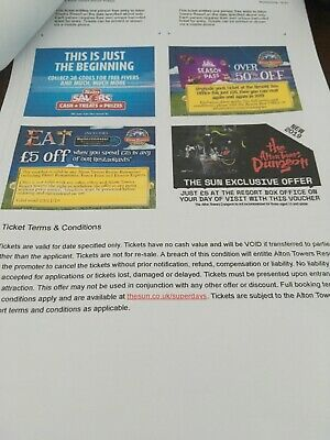 Alton Towers Tickets Sunday 6th Oct X1 Ticket Only