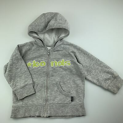 Boys size 2, Bonds, grey zip-up hooded sweater, GUC