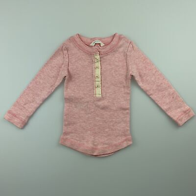 Girls size 000, Country Road, pink marle soft cotton long sleeve top, EUC