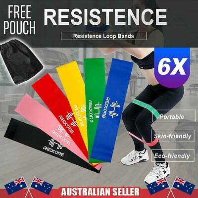 6PCS Resistance Bands Power Heavy Strength Exercise Fitness Gym Crossfit Yoga AU