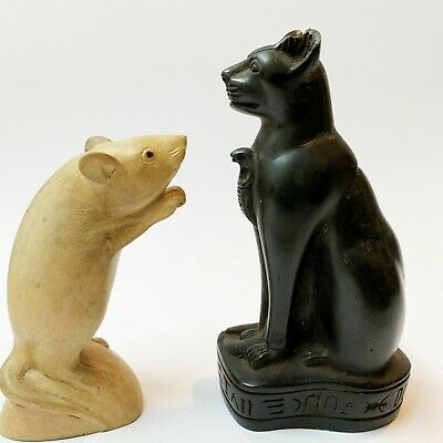 Replica Ancient Egypt Bastet Cat Figurine with Cobra Below Chin 17cm (Ear Chip)