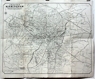 c1895 Large Old Antique 19th Century Map Greater Birmingham Period Adverts