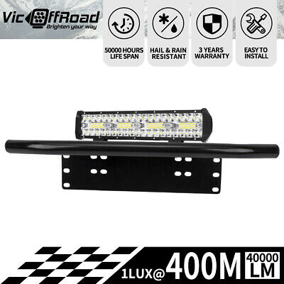 12inch Cree LED Light Bar Spot Flood Offroad 4WD with Number Plate Frame
