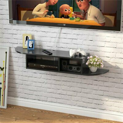Wood Floating Wall Mount Shelves TV Stand Media Console with 2 Tier Shelf UK
