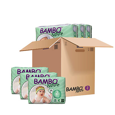 Bambo Mini Nappies Size 2 3-6kg, 6-13LB - 6 x packs of 30 180 Nappies