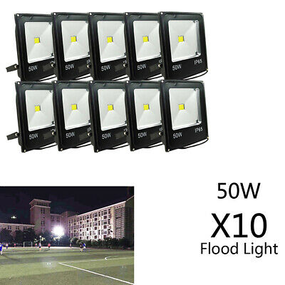 10X 50W LED Flood Light IP65 Cool White 6000K Spot Lamp Outdoor AU Plug 240V