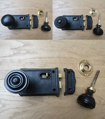 LARGE BLACK WAX CAST IRON rim LATCH + wooden rim door handles vintage retro