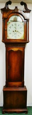 Antique 19thC English Shipping 8 Day Bell Striking Longcase Grandfather Clock