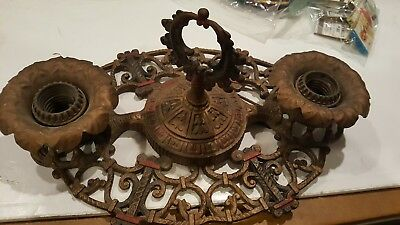 Vintage 1930s Ornate  Art Deco Light Fixture ~ Antique Brass Ceiling Lamp