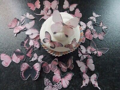 45 Precut Edible Pink Mix Butterflies for cakes and cupcake toppers