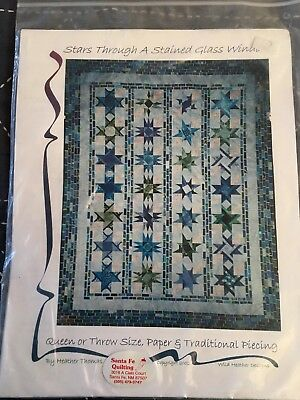 """Stars Through A Stained Glass Window"" Quilt Quilting Pattern Queen Or Throw"