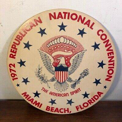 "Vintage 1972 Republican National Convention Sign Miami Florida 11"" Historic"