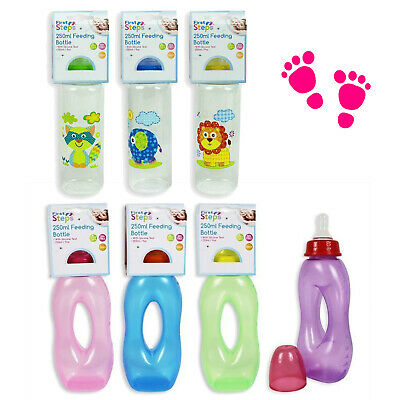 First Steps Baby Bottle + Gripper Bottle 250ml Various Colours/Designs BPA Free