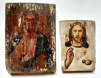 2 pcs Antique Orthodox Icons Jesus Christ Russian Empire Hand Painted Board