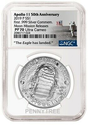 2019 P Apollo 11 50th Proof Silver Dollar NGC PF70 Moon Mission Releases In Hand