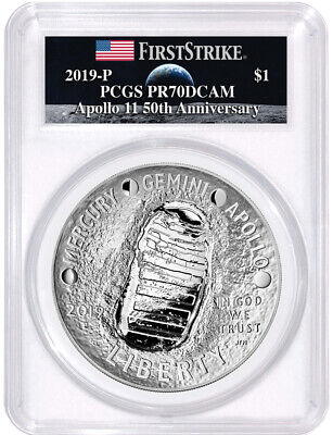 2019-P $1 Proof 5 oz Apollo 11 Coin PCGS PR70