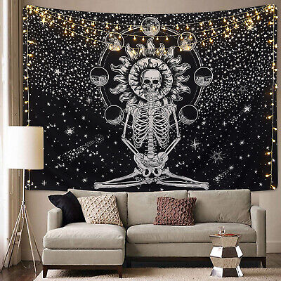 US Stock Hippie Mandala Skull Tapestry Wall Hanging Psychedlic Tapestries Decor