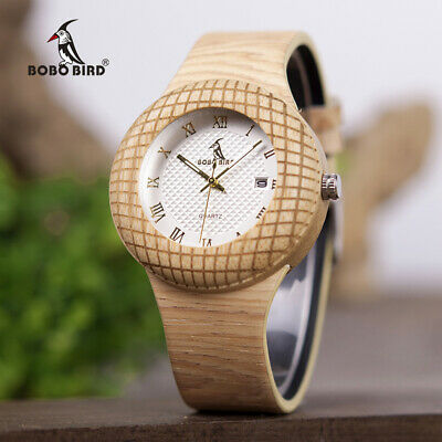 BOBO BIRD Luxury Men Watch Wood Nest Case Design Leather Band for Father's Day