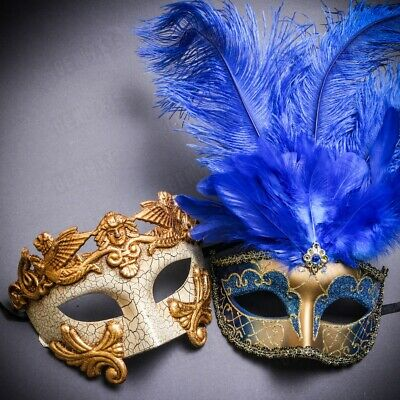 King and Queen Gold for Couple Masquerade Masks Party Prom Costume Greek Feather