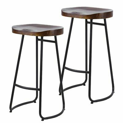 2 X Metal Vintage Rustic Industrial Kitchen Pub Bar Stools Backless High Chair B