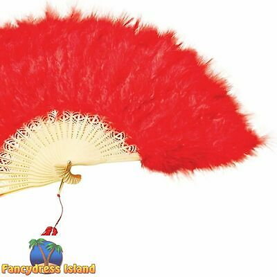 BURLESQUE STYLE SPANISH RED FEATHER FAN Womens Ladies Fancy Dress