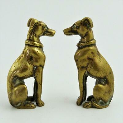 Pair Mid 19Th Century Brass Figures Of Seated Greyhounds
