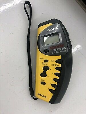 Sony Walkman Sports Yellow SRF-M73 AM FM Radio Vintage Nice! New Batteries!