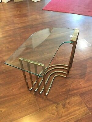 Vintage Mid Century Modern Brass Tone Curved Shape Side Table With Glass