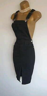 River island sexy black denim dungaree pinafore split front midi dress 8