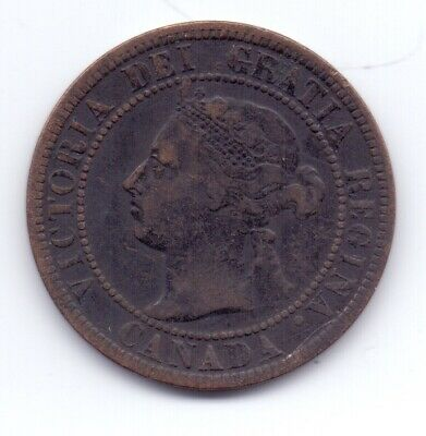 1899 Canadian Bronze 1c One Cent Coin Queen Victoria