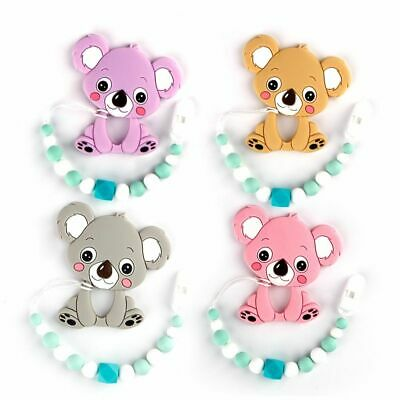 Silicone Teether Pacifier Chain Clip Teething Beads Bracelet Baby BPA Free