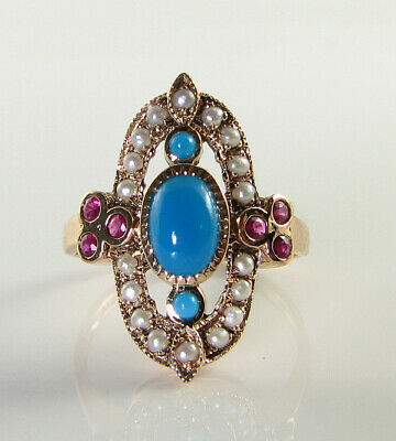 Long 9K 9Ct Rose Gold Persian Turquoise Pearl Ruby Art Deco Ins Ring Free Resize