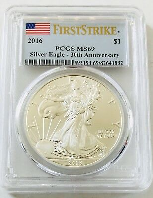 2016 First Strike Silver Eagle Pcgs Ms69!