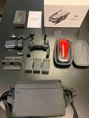 **USED** DJI Mavic Air Fly More Combo Quadcopter Drone - Flame Red-Perfect Cond.