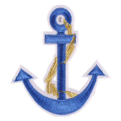 1pcs  Blue Sailing Anchor Embroidered Iron ON Patch Applique Badge 7.3x8.1cm