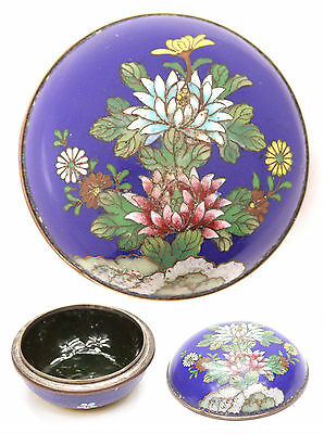 Antique Japanese Cloisonne Shippo Small Round Box Flowers Meiji Enamel Japan Old