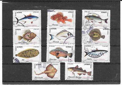 France 2019.Poissons De Mer. Lot De 11 Timbres Autoadhesifs Cachets Ronds