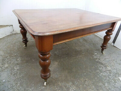 antique,victorian,mahogany,dining table,turned legs,castors,library,table,dine