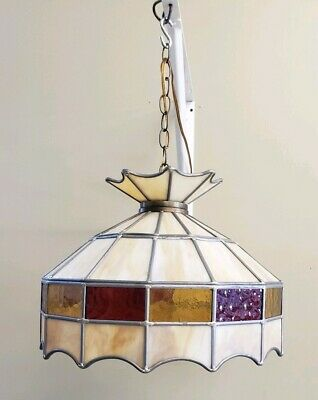 Vintage Hanging Leaded Stained Slag Glass Swag Light red yellow cream