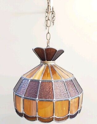 Vintage Hanging Leaded Stained Slag Glass Swag Light globe dark chocolate brown