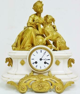 Antique French 8 Day White Marble & Original Gilt Metal Figural Mantel Clock