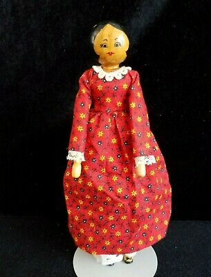 Vintage 1979 Hand Carved Wood Doll By Artist Judy Brown Original Dress