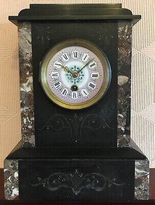 Black marble slate beautiful mantle clock in full working order (used)