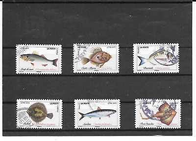 France 2019.Poissons De Mer. Lot De 6 Timbres Autoadhesifs Cachets Ronds