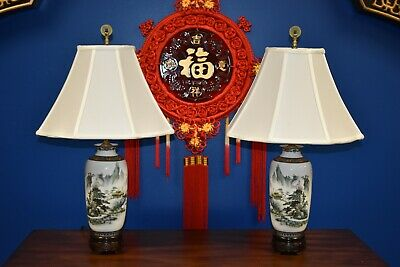 """26"""" Matched Pair Of Chinese Porcelain Vase Lamps - Asian-Oriental-Cloisonne"""