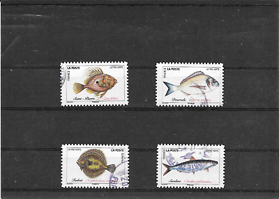 France 2019.Poissons De Mer. Lot De 4 Timbres Autoadhesifs Cachets Ronds