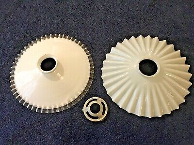 Two Pretty French Vintage Opaline Coolie Glass Shades Fluted Edges White